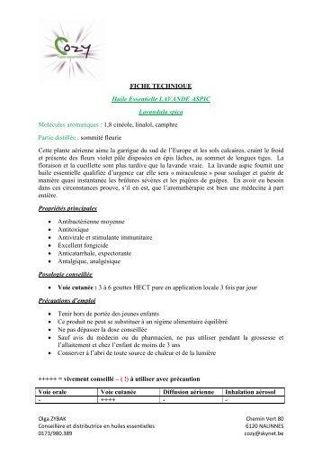 FICHE TECHNIQUE Huile Essentielle LAVANDE ... - COZY Belgique