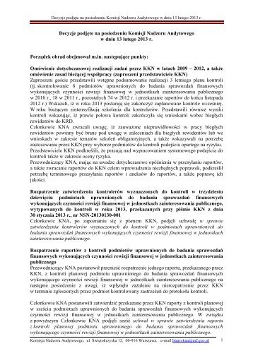 Decyzje podjęte na posiedzeniu Komisji Nadzoru Audytowego w ...