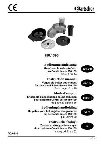 Bedienungsanleitung Instruction manual Mode d ... - Bartscher GmbH