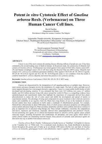 Potent in vitro Cytotoxic Effect of Gmelina arborea Roxb ...