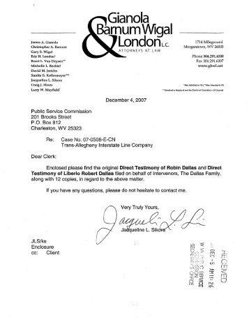 Direct Testimony of Robin Dallas and Liberio Robert Dallas, Jr.