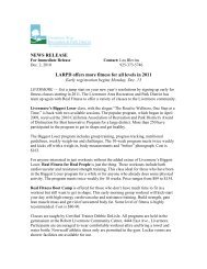 NEWS RELEASE LARPD offers more fitness for all levels in 2011