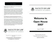 Welcome to Open House 2007 - Faculty of Law - University of Alberta