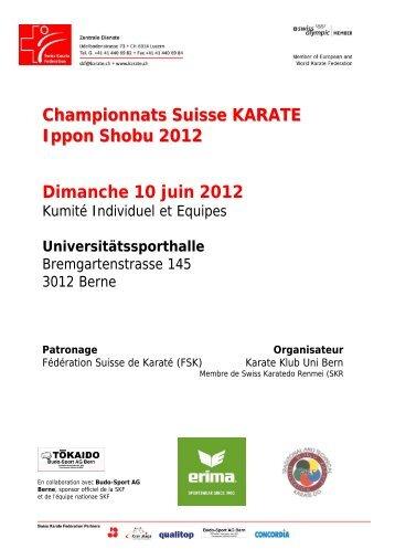 Championnats Suisse KARATE Ippon Shobu 2012 ... - Sportdata.org