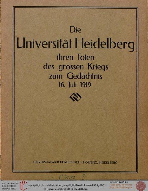 Die Universität Heidelberg ihren Toten des ... - Warburg Institute