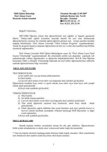 1 TC Milli Eğitim Bakanlığı İstanbul, Beyoğlu 21.09.2007 Özel Alman ...