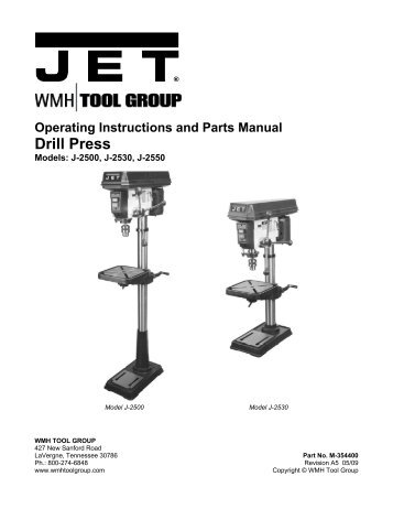 Operating Instructions And Parts Manual Drill Press Jet Tools