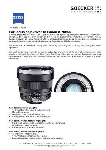 Carl Zeiss objektiver til Canon & Nikon - Goecker
