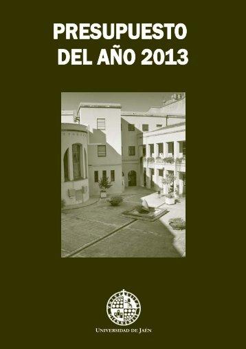 presupuesto año 2013 - Universidad de Jaén