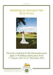 Wedding Prices 2013 - Wynyard Hall