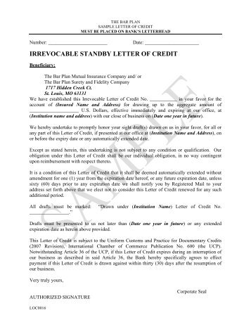 Gas Sample Form No. 79-1043 Irrevocable Standby Letter Of Credit