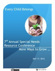 Every Child Belongs 7 Annual Special Needs Resource Conference ...