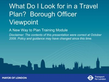 What am I look for in Travel Plans? A Borough's view.