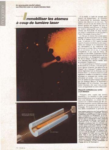 Immobiliser des atomes à coup de lumière laser - Département de ...