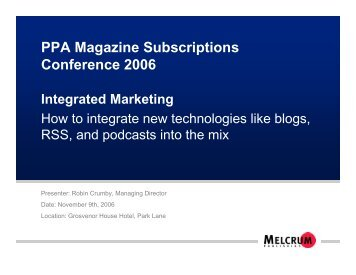PPA Magazine Subscriptions Conference 2006 Integrated Marketing