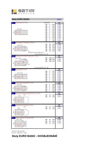 Stoly EURO BASIC - DOOBJEDNÁNÍ - Kancelářský nábytek M1, sro