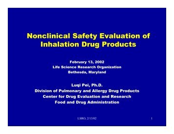Nonclinical Safety Evaluation of Inhalation Drug Products