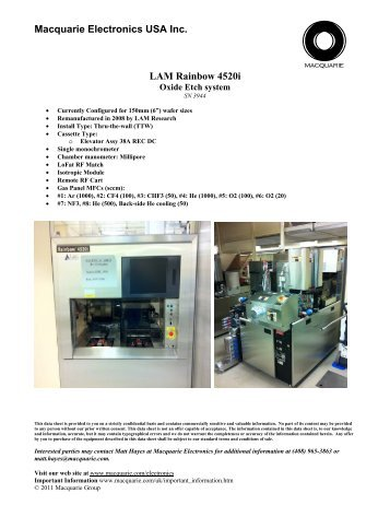 lam 2300 versys kiyo 45 poly etch microwave strip macquarie rh yumpu com 2300 Lam Research Pics Lam Semiconductor Tools Flex 2300