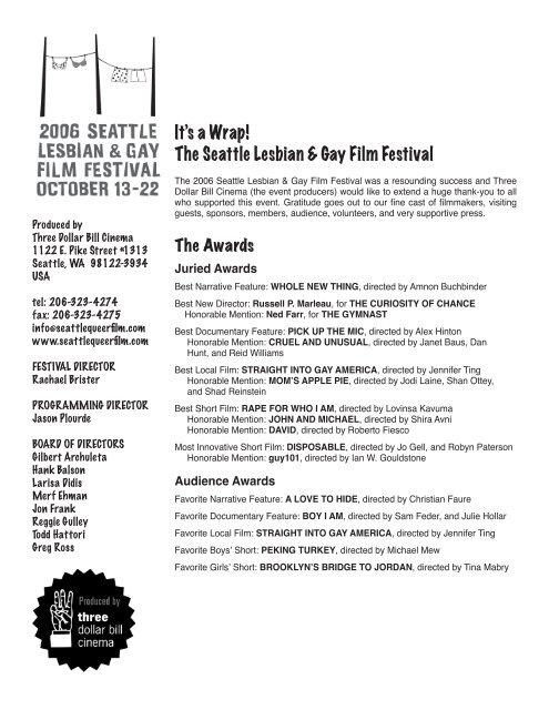 Seattle gay film festival schedule