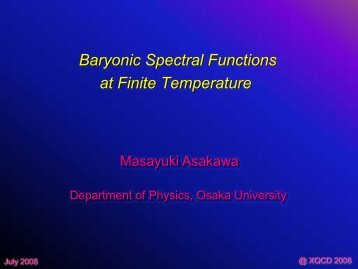 Baryonic Spectral Functions at Finite Temperature - Physics