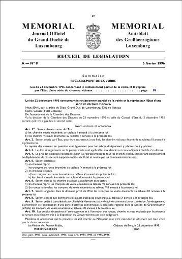 Loi du 22 décembre 1995 concernant le reclassement partiel de la ...