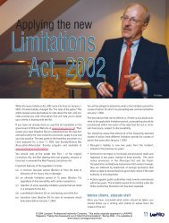 Applying the new Limitations Act, 2002 - practicePRO.ca