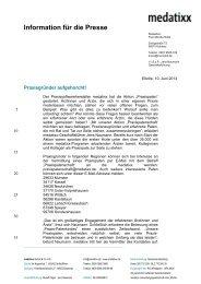 Information für die Presse - Medatixx