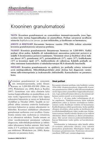 Krooninen granulomatoosi - Duodecim