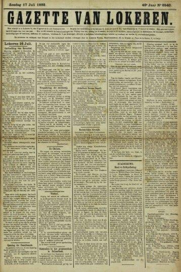 Zondag- 17 Juli 1892. 49» Jaar N° 2540. Lokeren 16 Juli.