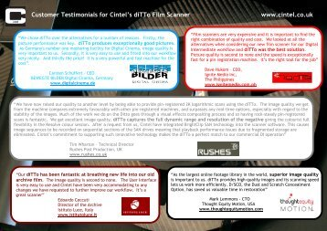 Customer Testimonials for Cintel diTTo