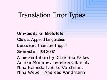Translation Error Types - Computational Linguistics and Spoken ...