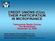 CREDIT UNIONS (CUs): THEIR PARTICIPATION IN ... - World Bank