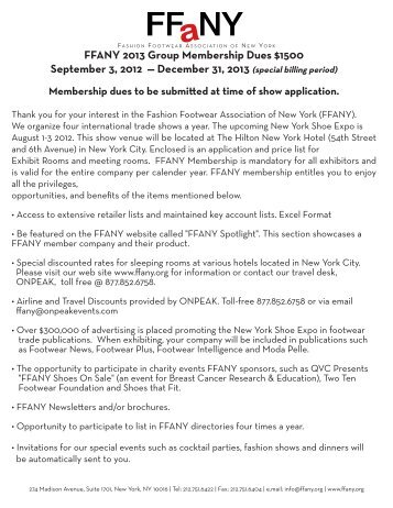 FFANY 2013 Group Membership Dues $1500 September 3, 2012 ...