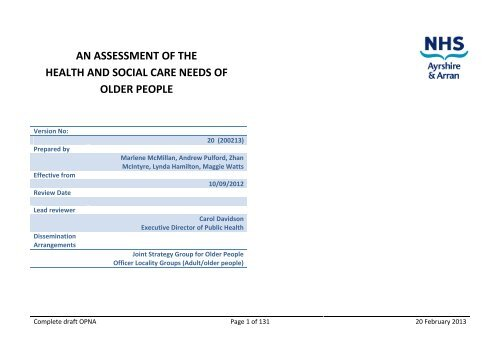 an assessment of the health and social care needs of older people