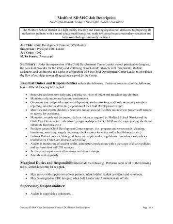 Medford SD 549C Job Description - Medford School District