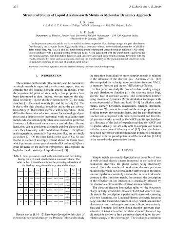 Structural Studies of Liquid Alkaline-earth Metals -A Molecular ...
