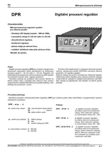 Digitální procesní regulátor - M Elektronika