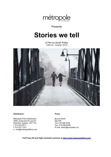 Stories we tell - Métropole Films
