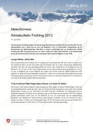 Klimabulletin Frühling 2013 Frühling 2013 - MeteoSchweiz - admin.ch