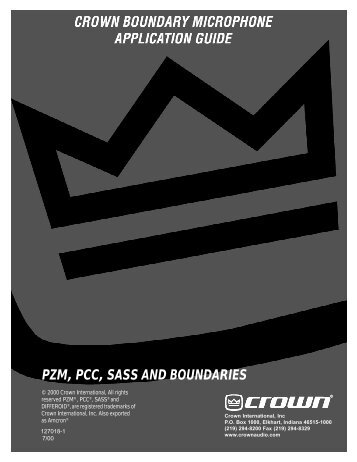 PZM, PCC, SASS AND BOUNDARIES - Crown Audio, Inc.
