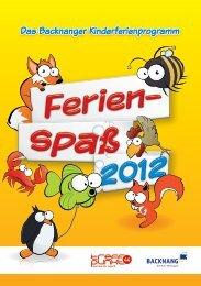 """Anmeldung """"Ferienspaß 2012"""" - Stadt Backnang"""