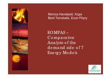 Comparative Analysis of the demand side of 7 Energy Models