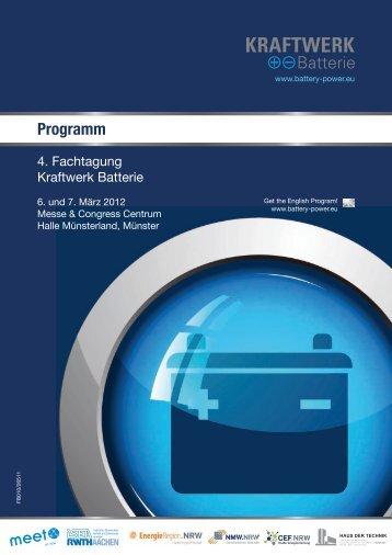 Programm Batterietagung 2012 in Münster vom ... - Kraftwerk Batterie