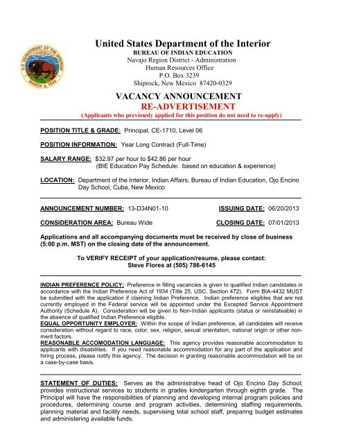 VACANCY ANNOUNCEMENT - Bureau of Indian Education