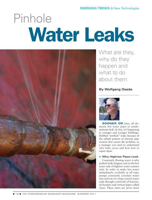 Water Leaks - Association of Condominium Managers of Ontario