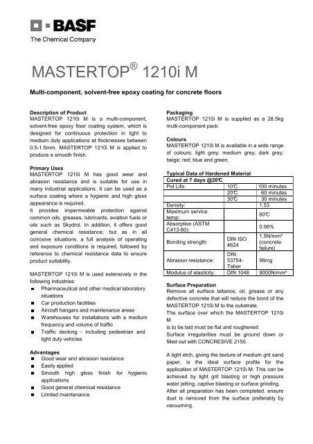 MASTERTO 1210 iM pdf - BASF Construction Chemicals - Egypt