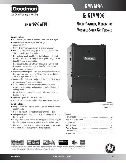Goodman Gmvm960805cx Specifications Free Shipping