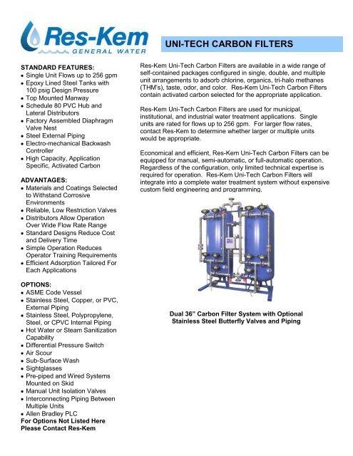 Uni-Tech Carbon Filter Brochure - Res-Kem Corporation
