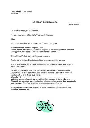 Compréhension de lecture La bicyclette - Professeur Phifix