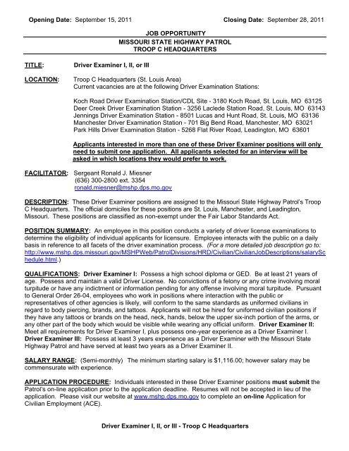 September 28, 2011 Driver Examiner I, II, or III - State